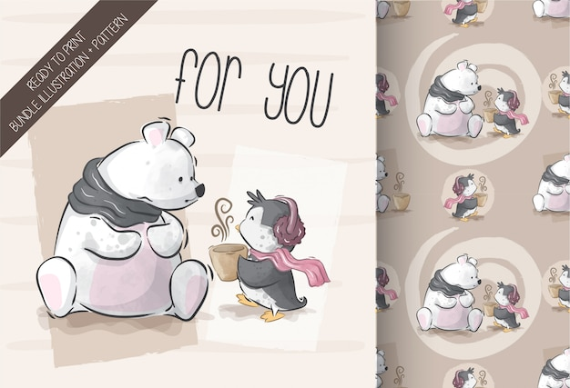 Cute bear with penguin illustration with seamless pattern