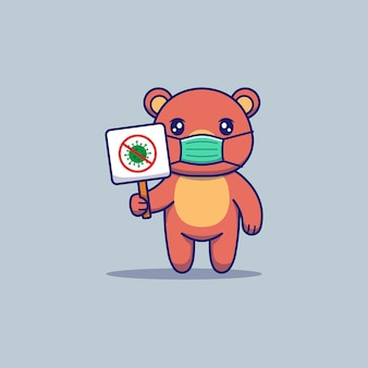 Милый медведь с защитной маской