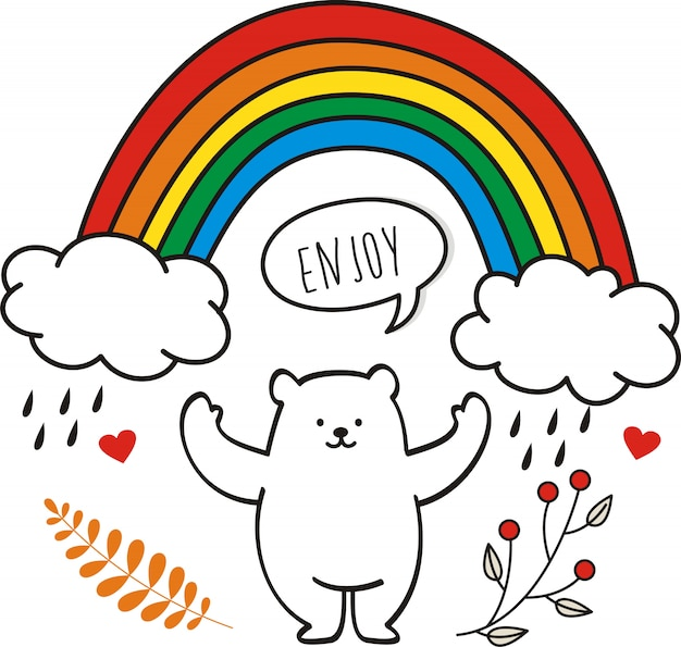 Cute bear with rainbow on paper background