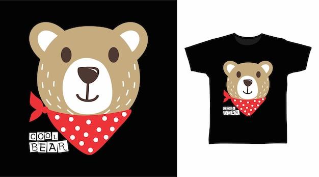 빨간 반다나 티셔츠 디자인 컨셉이 있는 귀여운 곰