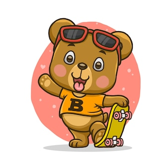 Cute bear with skateboard isolated on white background.