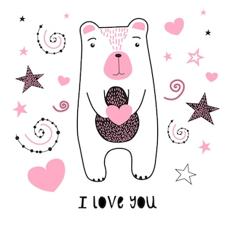 Cute bear with stars and heart