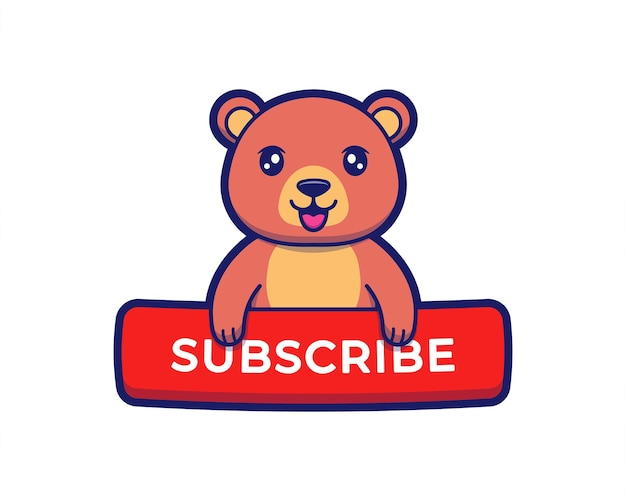 Cute bear with subscribe button