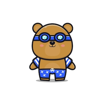 Cute bear with a summer theme   illustration animal summer concept