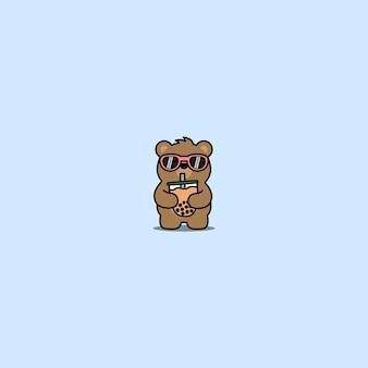 거품 차 만화를 마시는 선글라스와 귀여운 곰