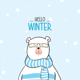 Cute bear with sweater in snow for winter season