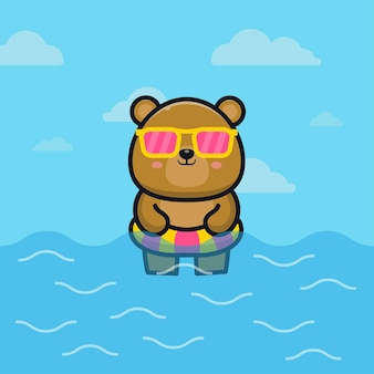 Cute bear with swim ring cartoon   illustration animal summer concept