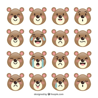 Cute bear with variety of facial expressions