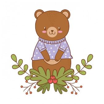 Cute bear woodland character