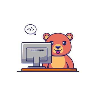 コンピューターの前で働くかわいいクマ