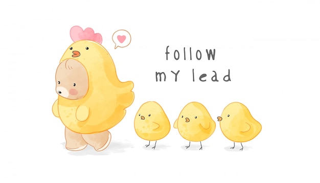 Cute bear in yellow chicken costume followed by baby chiks illustration