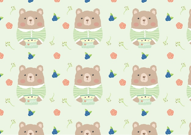 Cute bear and yogurt seamless pattern vector.