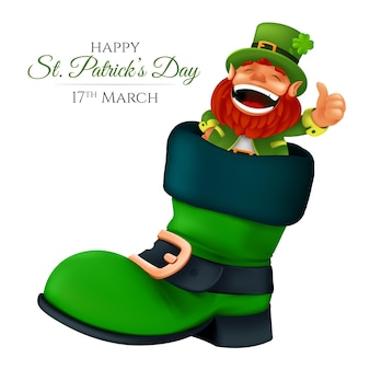Cute bearded leprechaun peeking from the boot and showing thumbs up.