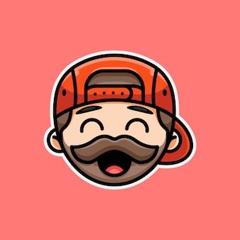 아이콘 스티커 로고 및 일러스트레이션을 위한 귀여운 수염난 남자