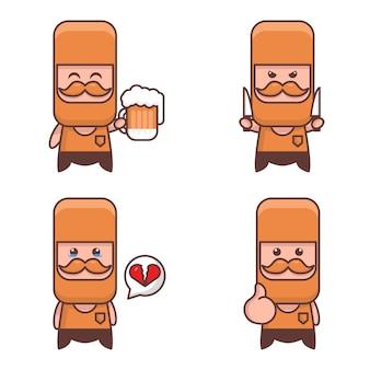 Милый бородатый мужчина талисман каваи