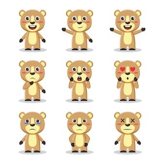 Набор персонажей милых медведей