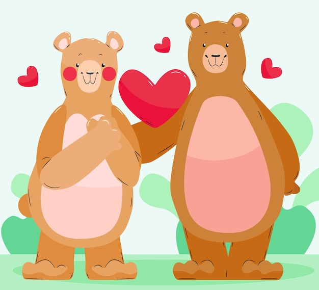 Cute bears couple illustrated
