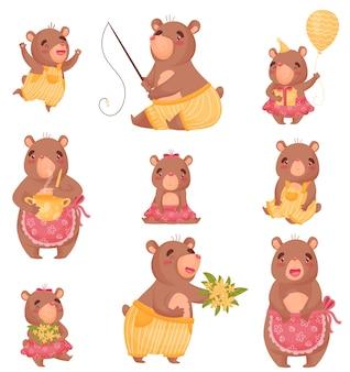 Милые медведи в костюмах людей