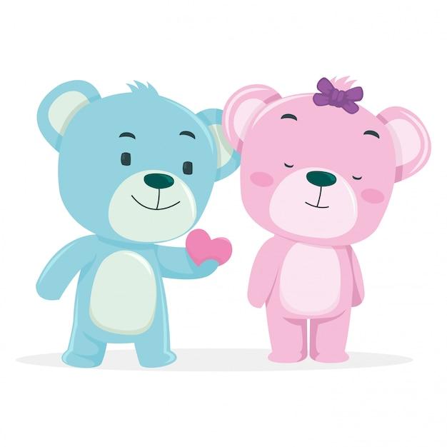 かわいいクマがバレンタインデーに彼のパートナーにプレゼントを贈る
