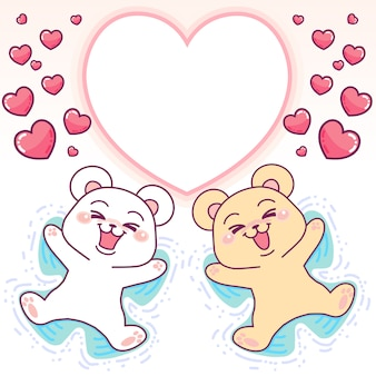 Cute bears heart frame