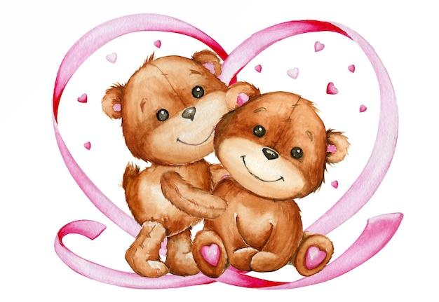 Cute bears, heart made of ribbon. watercolor