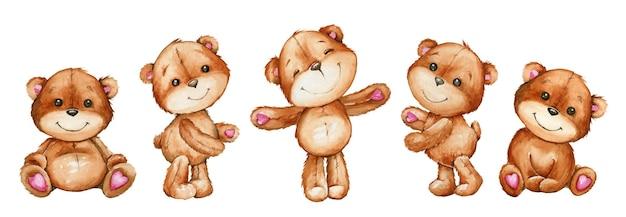 격리 된 배경에 만화 스타일의 귀여운 곰. 휴가 초대장 및 엽서 용 수채화 동물.