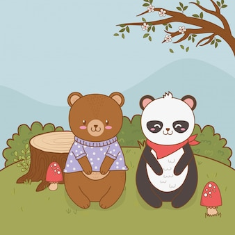 Cute bears panda and teddy in the field woodland character