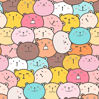 Cute Bears Pattern Background.