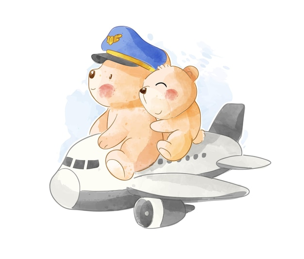Cute bears pilot couple riding airplane illustration