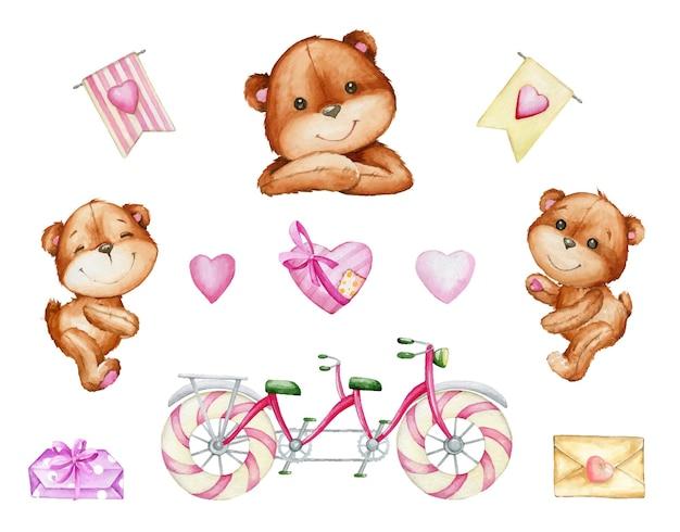귀여운 곰, 탠덤 자전거, 하트, 선물, 편지. 격리 된 배경에 만화 스타일의 요소 수채화 세트.