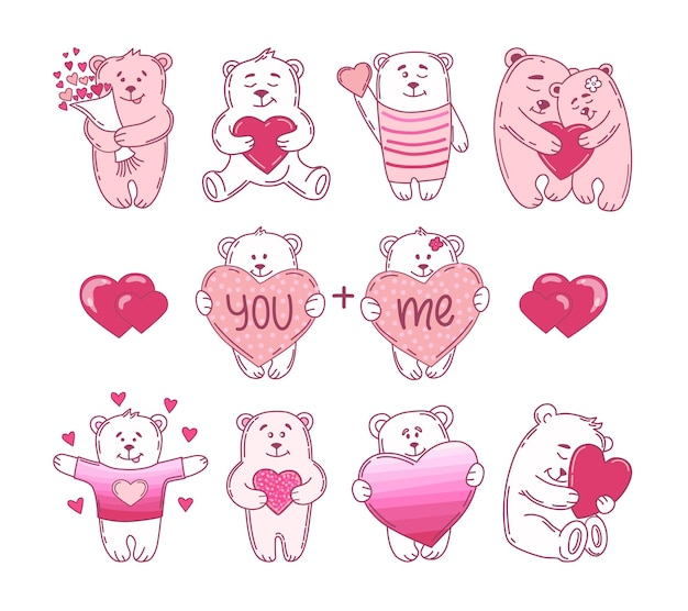 Cute bears with hearts valentine's day set.  illustration.