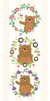 Cute bears wreath flower set of bear mom in flowers frames illustration