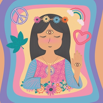 Cute beautiful boho bohemian gypsy hippie hippies girl woman in flat color style