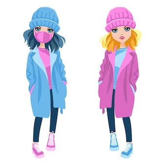 Милая красивая модная девушка в теплой одежде, шапках и пальто