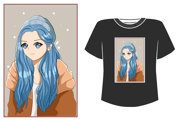 Cute and beautiful girl blue hair cartoon illustration