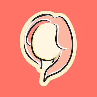 Cute beautiful girl face with long pink hair