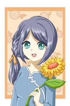 Cute and beautiful girl with sunflower in the summer design character cartoon illustration