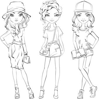 Tシャツとスカートまたはショートパンツ、帽子、バッグを着たかわいい美しい女の子。線画