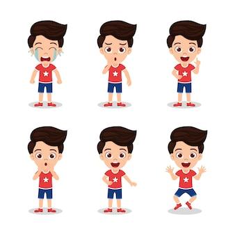 Милый красивый малыш мальчик с разными выражениями