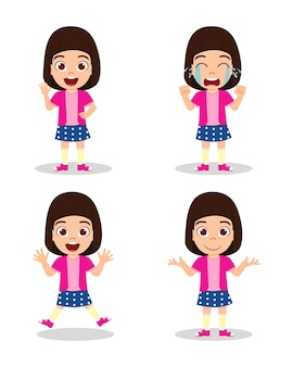 Cute beautiful kid girl with different expressions