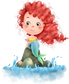 Cute beautiful little mermaid with red long hair sits on the stones near the water painted in watercolor