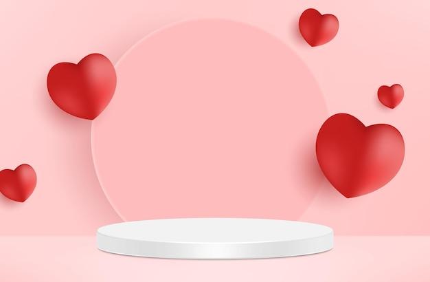 バレンタインデーのためのかわいい美しいピンクのリアルなハート型の表彰台