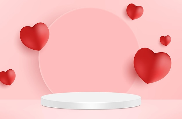 Cute beautiful pink realistic heart shaped podium for valentines day