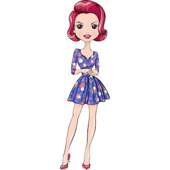 Cute beautiful pop art girl in dress.