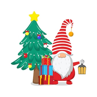 Cute beautiful santa claus celebrating merry charismas with chiasmas gift boxes and chiasmas tree and lamp isolated