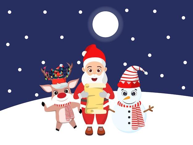 かわいい美しい雪だるまとクマとトナカイ