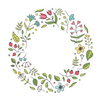Cute beautiful spring flowers round frame on white background