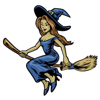 Cute beautiful witch riding her flying broom