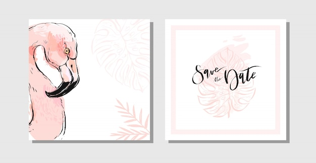 Cute beautuful feminine save the date cards set collection template with paradise bird flamingo ant exotic palm leaves in pastel colors isolated on white background