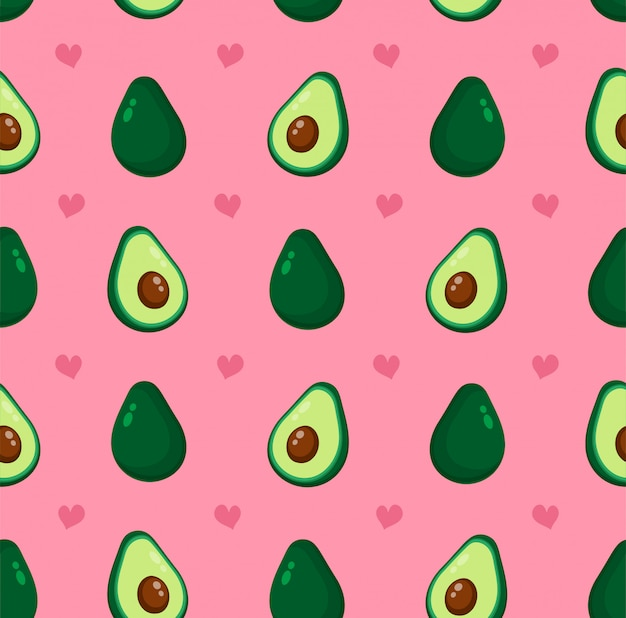 Cute beauty avocado and hearts seamless pattern.